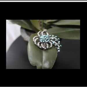Vintage Turquoise and White Rhinestone Pin